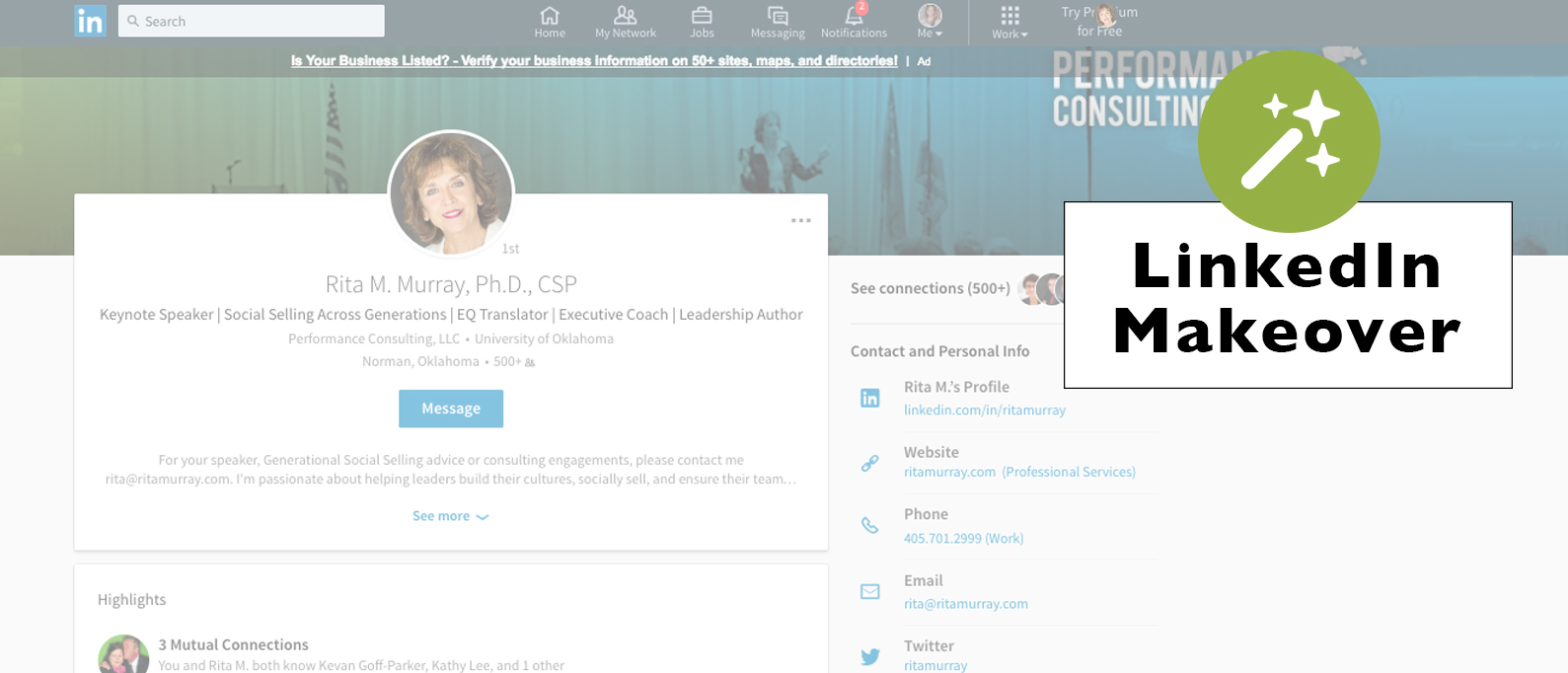 performance consulting linkedin makeover